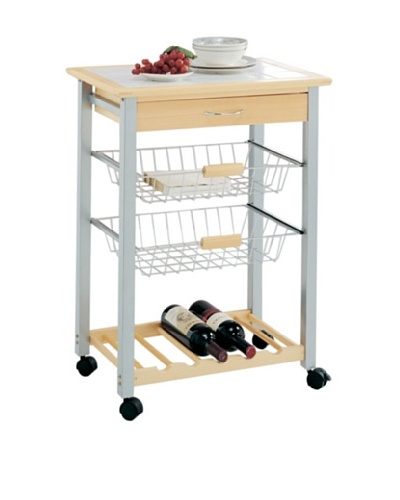 Organize It All Bamboo Kitchen Cart with 2-Baskets