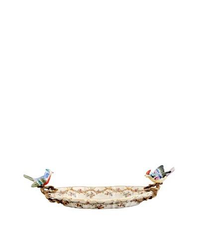 Oriental Danny Freeland Floral Porcelain Platter with Bird Handles