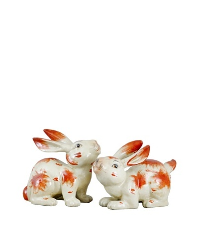 Oriental Danny Set of 2 Porcelain Orange Hares