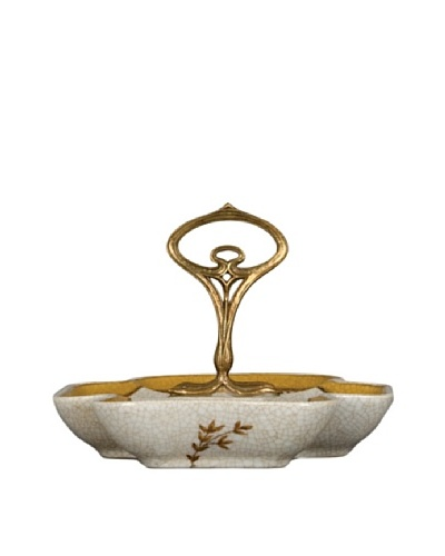 Oriental Danny Butterfly Dish with Handle, Gold Dusk