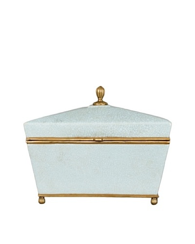 Oriental Danny Crackled Porcelain and Bronze Box, Blue