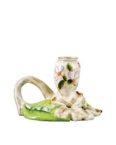 Oriental Danny Graslin Floral Porcelain Candle Holder, Left