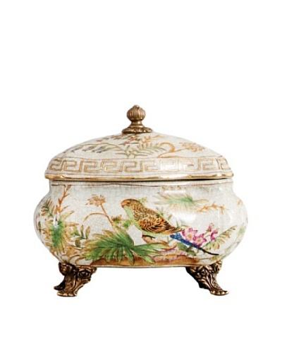 Oriental Danny Bird Paradise Porcelain Round Box, Small