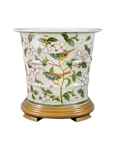 Oriental Danny Graslin Porcelain Planter with Wood Base