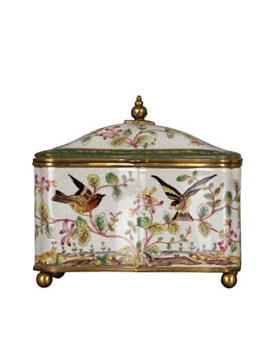 Oriental Danny Porcelain Box with Willow BirdAs You See
