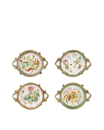 Oriental Danny Set of 4 Bronze Porcelain Dishes