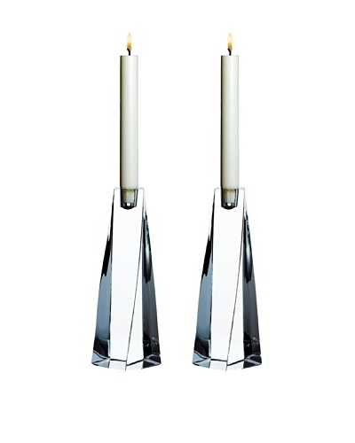 Orrefors Set of 2 Tornado Candlesticks