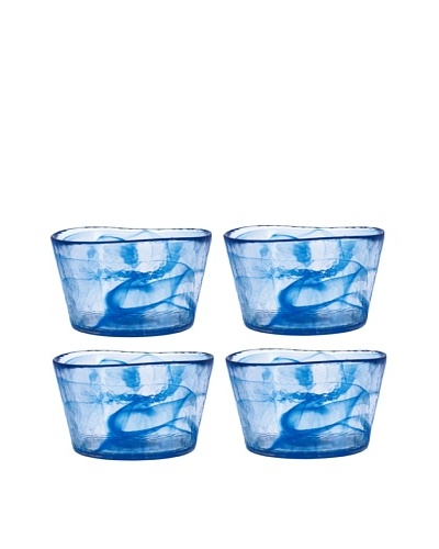 Orrefors Set of 4 Small Mine Bowls, Blue