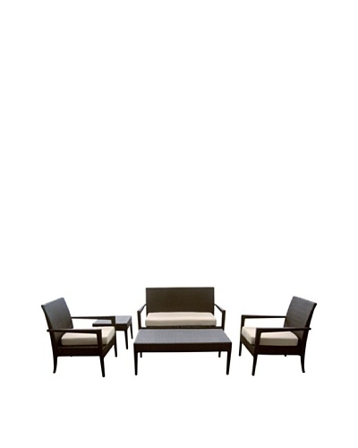 Outdoor Pacific by Kannoa 5-Piece Open Arm Seating Set, Dark Coffee