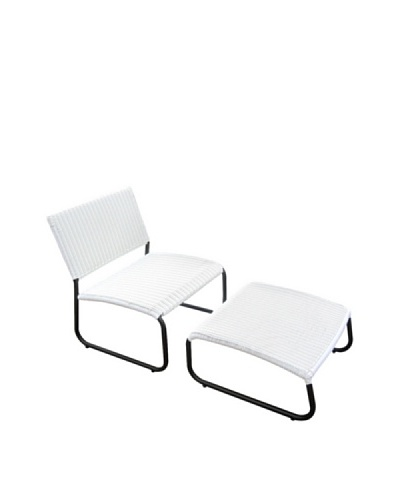 Outdoor Pacific by Kannoa Armless Club Chair with Ottoman, White