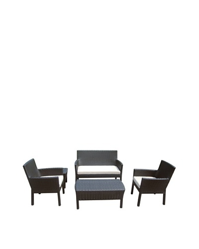 Outdoor Pacific by Kannoa 5-Piece Small Scale Seating Set, Dark Coffee