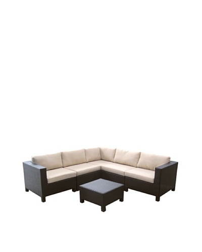 Outdoor Pacific by Kannoa 6-Piece Sectional Set, Dark Coffee