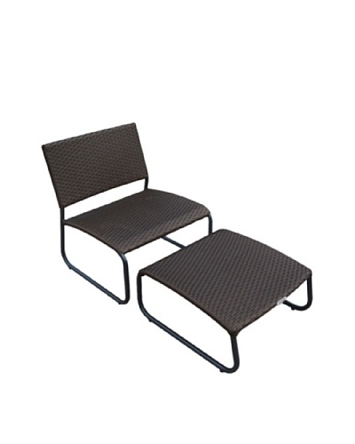 Outdoor Pacific by Kannoa Armless Club Chair with Ottoman, Dark Coffee