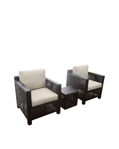 Outdoor Pacific by Kannoa 3-Piece Open-Weave Lounge Set, Dark Coffee