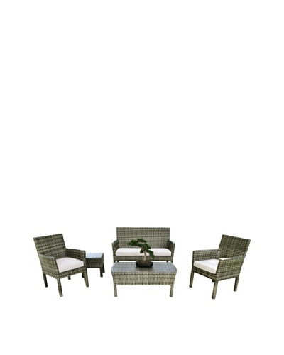 Outdoor Pacific by Kannoa 5-Piece Small Scale Seating Set, Coconut