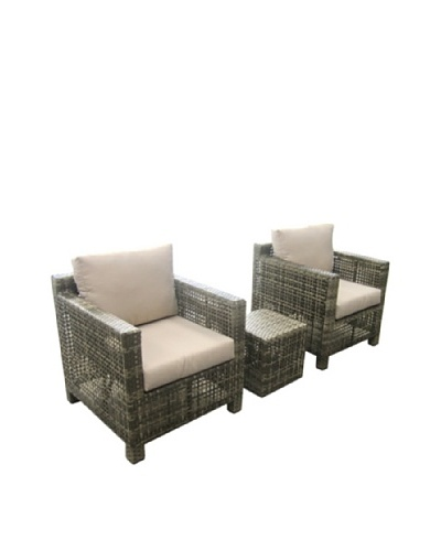Outdoor Pacific by Kannoa 3-Piece Open-Weave Lounge Set, Coconut