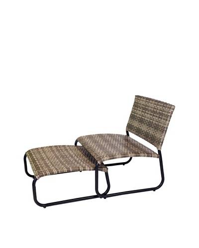 Outdoor Pacific by Kannoa Armless Club Chair with Ottoman, Coconut