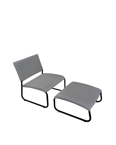 Outdoor Pacific by Kannoa Armless Club Chair with Ottoman, Silver