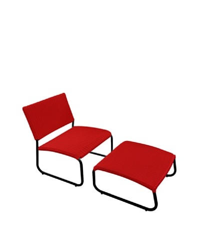 Outdoor Pacific by Kannoa Armless Club Chair with Ottoman, Red