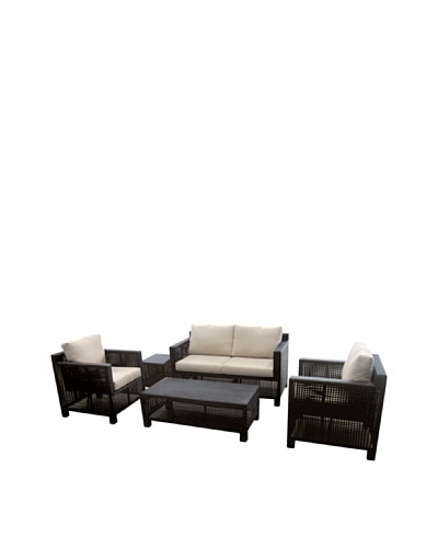 Outdoor Pacific by Kannoa 5-Piece Seating Set, Dark Coffee