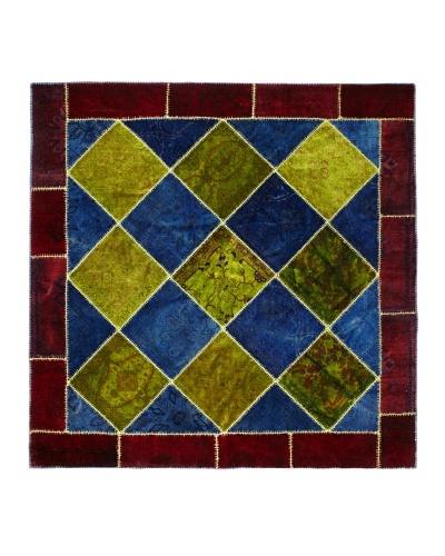One Of A Kind Overdyed Rug, Maroon/Blue/Green Multi, 10' 4.5 Square