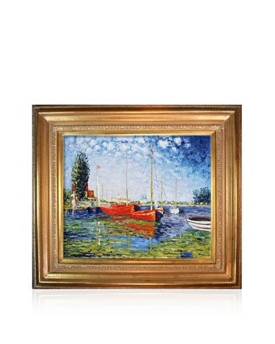 Claude Monet Red Boats at Argenteuil Framed Oil Painting, 20 x 24