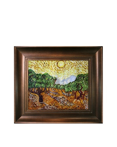 Vincent Van Gogh Olive Trees with Yellow Sun and Sky Framed Oil Painting