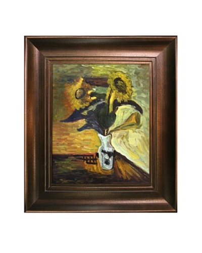 Vase of Sunflowers Framed Reproduction Oil Painting by Henri Matisse