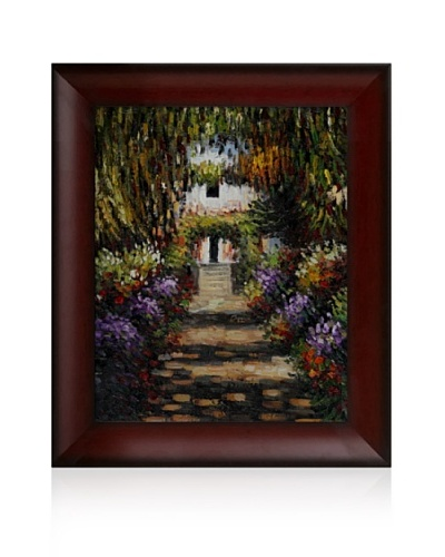 Claude Monet Garden Path at Giverny Framed Oil Painting, 16 x 20