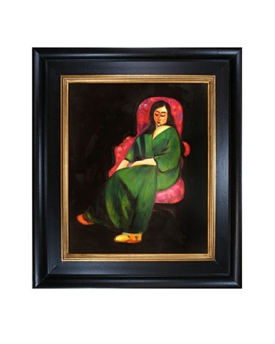 Lorette in a Green Robe Against a Black Background Framed Reproduction Oil Painting by Henri Matis...