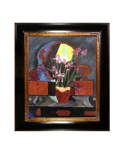 Vase with Iris Framed Reproduction Oil Painting by Henri Matisse