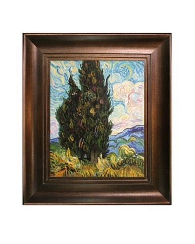 Vincent Van Gogh Two Cypresses Framed Oil Painting
