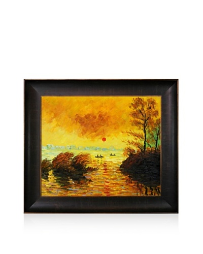 Claude Monet Le Coucher Du Soleil La Seine Framed Oil Painting,  20 x 24