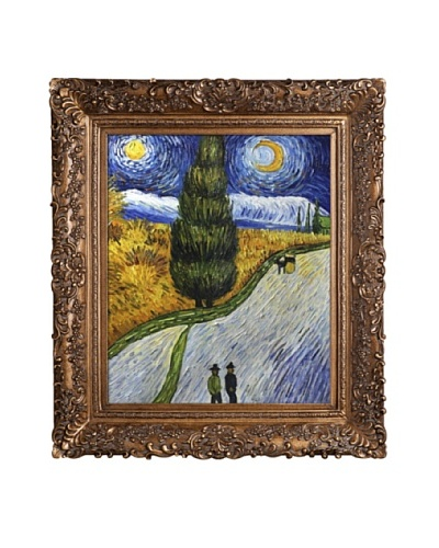 Vincent Van Gogh Road With Cypress and Star Framed Oil Painting