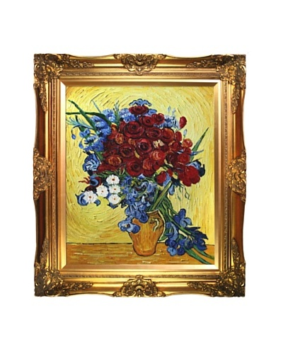 Vincent Van Gogh Poppies & Iris Collage Framed Oil Painting, Artist Interpretation