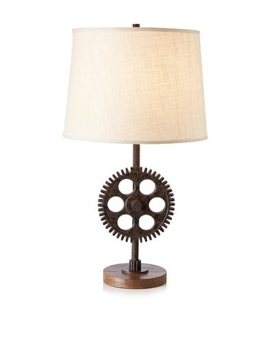 Industrial Gear Table Lamp, Poly Dark Rust, Medium