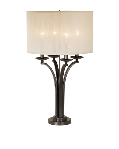 Pacific Coast Lighting 87-6517-20 Pennsylvania Country 4-Light Table Lamp, Bronze Florida Finish wit...