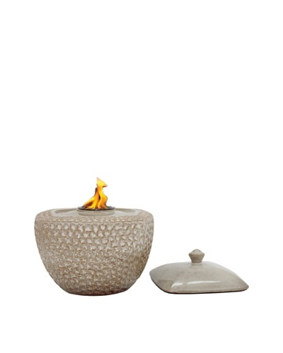 Pacific Décor Rounded Square Flame Pot, Sand, 9