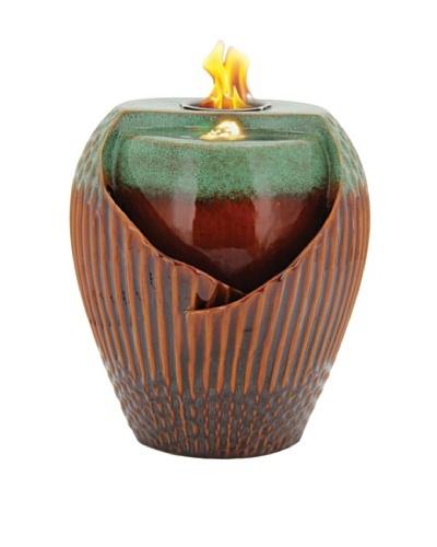 Pacific Décor Osaka LED Flame Fountain, Green/Brown, 12