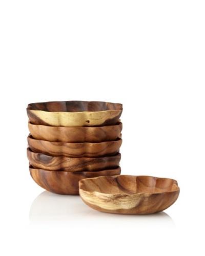 Pacific Merchants Set of 6 Acaciaware Individual Flared Oval Bowls, 5 x 7As You See