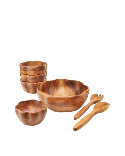 Pacific Merchants Acaciaware Salad Serving Set with 10 Bowl
