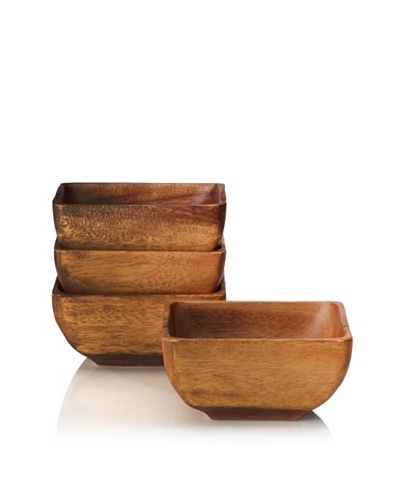 Pacific Merchants Set of 4 Acaciaware 6 Square Individual Bowls