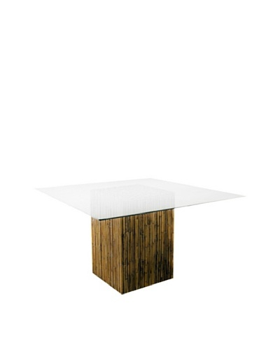 Padma's Plantation Bamboo Stick Dining Table Base with Glass, Natural