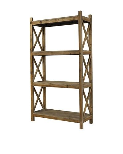 Padma's Plantation Salvaged Wood Cross-Rack Bookcase, Natural
