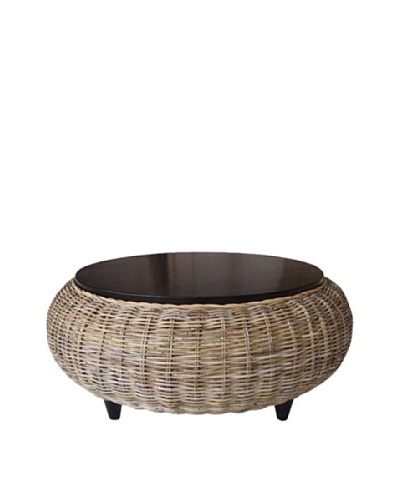 Padma's Plantation Paradise Ottoman with Wood Top, Kubu Grey
