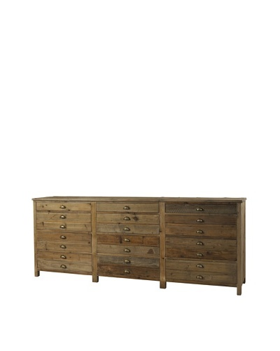 Padma's Plantation Salvaged Wood Printmaker's Sideboard, Natural