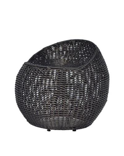 Palecek Outdoor Open-Weave Wicker Swivel Stool, Black