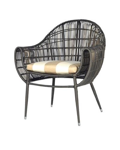 Palecek Piazza Outdoor Chair, Beige/Ivorystripe/Espresso