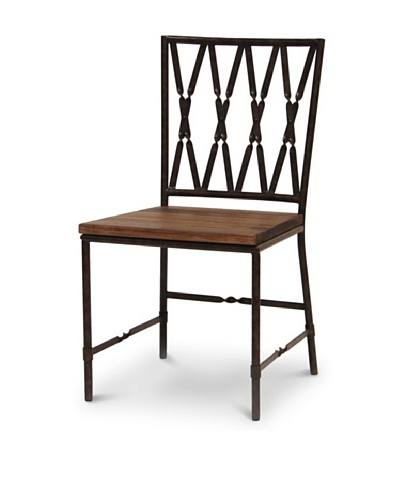 Palecek Camden Wooden-Seat Chair, Dark Grey/Brown