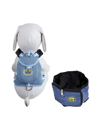 Pet Life Harness and Wallet Travel Bowl Set